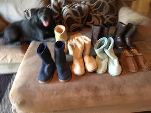 Brand new size 6 and 7 ugg boots and slippers . 5 pairs never worn regular style 1 slippers I with leather for Sale in San Diego, CA