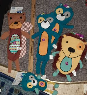"$57 - PETCO dog toy lot NEW 18"" SQUIRREL , 2 18"" BEAR - HEDGEHOG , Rope toy Raccoon for Sale in Manchester, NH"