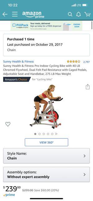 Sunny Health & Fitness indoor cycling bike for Sale in Alexandria, VA