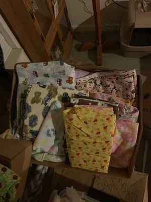 Box FULL of Flannel,Cotton, Teri Cloth Baby Girl& Boy Fabric for Sale in Warsaw, IN
