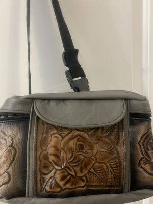 Genuine leather flower embossed gray waist bag for Sale in Port Charlotte, FL