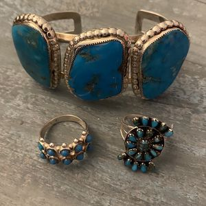 Sterling Silver Turquoise Bracelet And Rings Size 8 for Sale in Gilbert, AZ