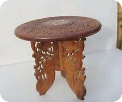 Tripod carved Indian stool