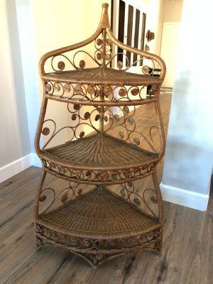 Vintage Boho Wicker Corner Shelf Unit for Sale in Rancho Cucamonga, CA
