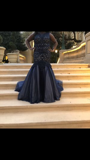 Navy Blue/ Tan PROM DRESS for Sale in Gulfport, MS