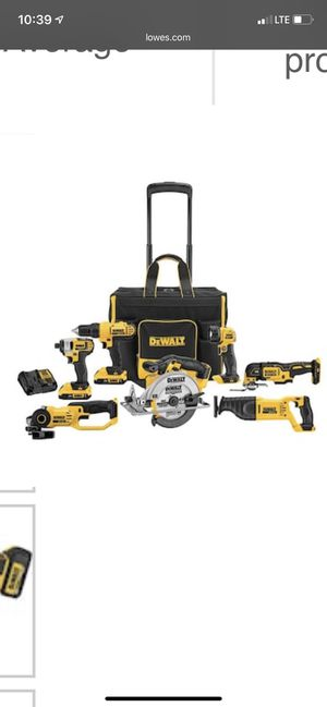 DEWALT 7-Tool 20-volt Max Power Tool Combo Kit with Soft Rolling Case (Charger Included and 2-Batteries Included) for Sale in Long Beach, CA