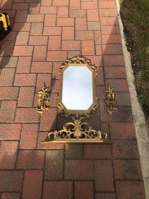 Beautiful antique gilded mirror shelf set for Sale in Jackson, NJ