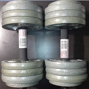 Weights (35lbs each dumbbell ) 12x5lb and 4x2.5 plates with all steel dumbbell handles for Sale in Covina, CA