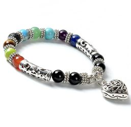 Balancing Reiki Healing Bracelet 7 Chakra Antique Silver Indian Stone Colour Hollow Heart Charm Yoga Bracelet Beads for Sale in Falls Church,  VA
