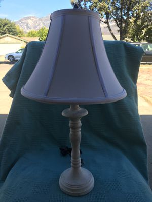 """22"""" tall Antique White Ceramic lamp with white 12"""" round shade for Sale in Upland, CA"""