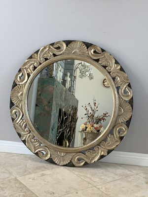 "Antique 40"" round mirror. It's carved by hand to make a beautiful design. There is no mirror like it. for Sale in Laguna Niguel, CA"