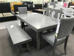 6 Piece Solid Wood Dining Set, Grey Finish for Sale in Garden Grove, CA