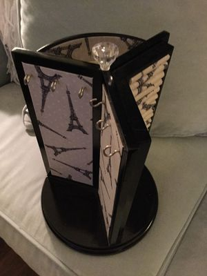 Turn table jewelry holder in Paris print black lacquer.perfect condition. for Sale in Leesburg, VA