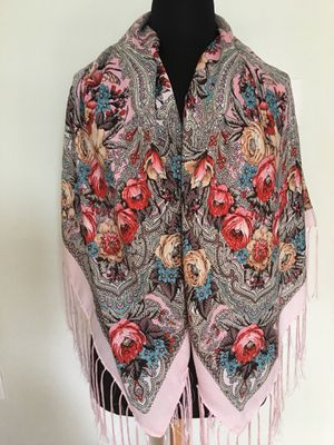 """New Pink Scarf Shawl With Fringe 48"""" x 48"""" for Sale in Watertown, MA"""