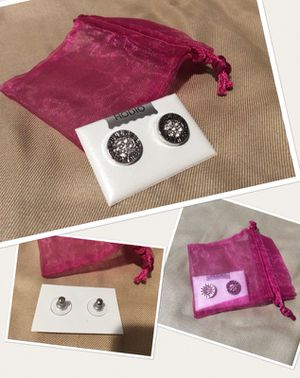 """RODIO Round Button Stud Earrings with Pavé """"Diamond"""" Crystals in a Silver Setting for Sale in Boston, MA"""