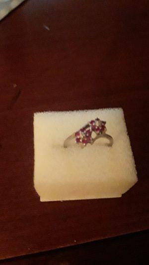 10k ring w/ ruby & diamond rosettes for Sale in Madison, VA
