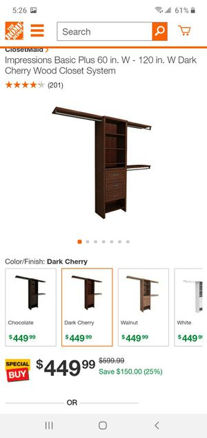 Cherrwood closet organizer from home depot for Sale in Fort Lauderdale, FL
