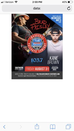 Brad Paisley Kane Brown concert for Sale in Charlotte, NC