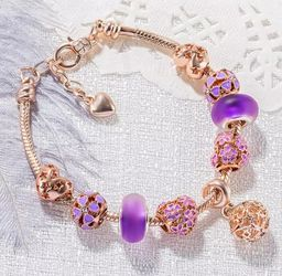 Rose gold and purple Beaded Charm Bracelet for Sale in Columbia,  MD