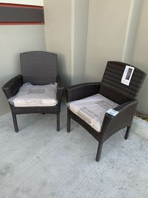 New in box SET OF 2 Santa Fe Dining Brown Chair Outdoor Wicker Patio Furniture With Tan Sunbrella material Cushion $400 at Costco for Sale in Whittier, CA