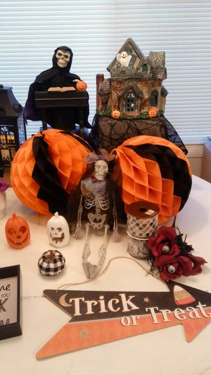 Lots of vintage and new halloween decorations lighted lantern, haunted house with color changing lights, for Sale in Bloomington, CA