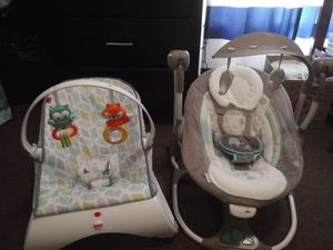 Baby items; Swing, bouncer, bath tub, mobile, & feeding pillow for Sale in St. Louis, MO