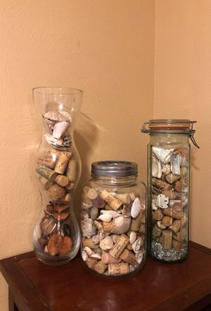 Decorative jars with filler 15 each firm for Sale in Katy, TX