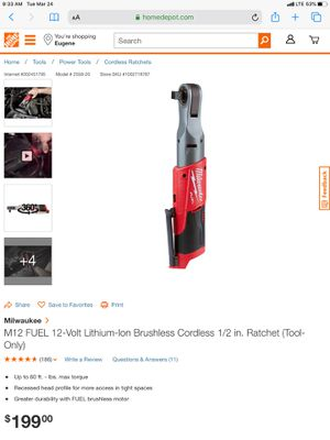 "Milwaukee m12 cordless brushless ratchet 3/8"" drive w/ charger for Sale in Eugene, OR"