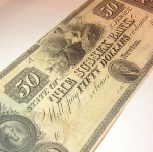 RARE 1850's Uncirculated and Unsigned $50 Sussex Bank Bill- Perfect Choice Brilliant Uncirculated Condition for Sale in Oakton, VA
