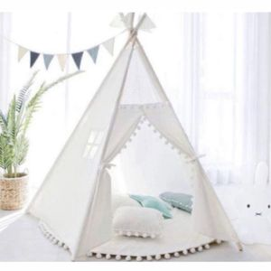 White Pompom Teepee Package with Poles, Floor Mat, pillow, Window, Pocket, LED star lights etc for Sale in Calabasas, CA