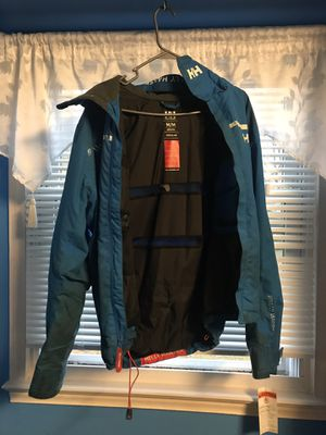 Blue and white Helly Hansen jacket size medium men's Cond {link removed} just dirty need dry cleaned ❗️❗️ with hoodie for Sale in Fort Washington, MD