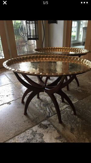 2 brass spider leg mid century vintage antique end tables tray for Sale in Sugar Land, TX
