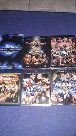 Lot of Wrestlemania DVDs/blu rays for Sale in Malden, MA