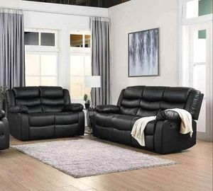 [OVERSTOCK] Dynamo Black 2-Piece (Sofa & Loveseat) Reclining Living Room Set Happy Homes for Sale in Fort Worth, TX