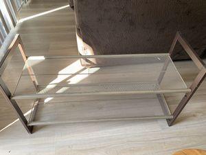 2-Tier Stackable Metal Shoe Rack Flat & Slant Adjustable Shoe Organizer Shelf for Closet Bedroom & Entryway Bronze for Sale in Phoenix, AZ