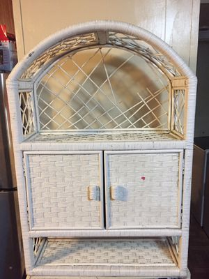 White whicker shelf/cabinet for Sale in Dayton, TX