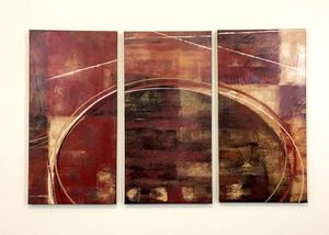 3 piece abstract maroon canvas art for living room bedroom lobby wall home decor for Sale in Seattle, WA