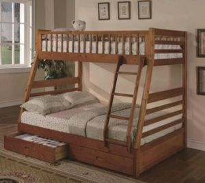 Columbus Day Special- [SPECIAL] Boise Oak Twin over Full Bunk Bed with Storage for Sale in Houston, TX