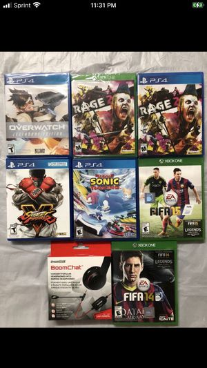 4 PlayStation 4 games and 3 new Xbox games and a headphone jack for new games for Sale in El Cajon, CA