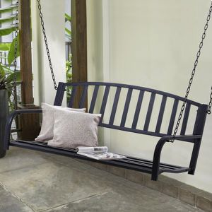 🔥 2-IN-1 DESIGN Outdoor Metäl Hanging Pätio Porch Swińg Weather Resistant Stëel Bènch- Black for Sale in Los Angeles, CA