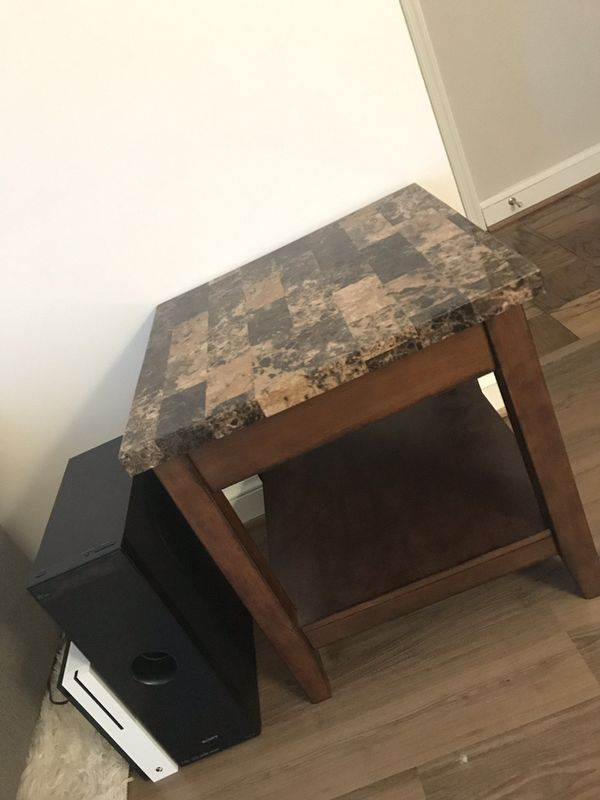 Faux Marble Side Table