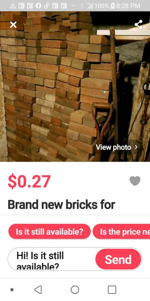 New cheap bricks for sale,.27cents each,pickups only for Sale in Allentown, PA