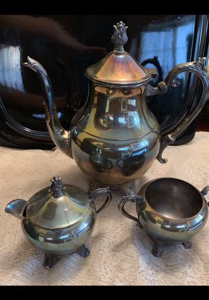 Vintage F. B. Rogers Silver Co, 3-Piece Tea Set (Sugar, Creamer, Pot) for Sale in Montebello, CA