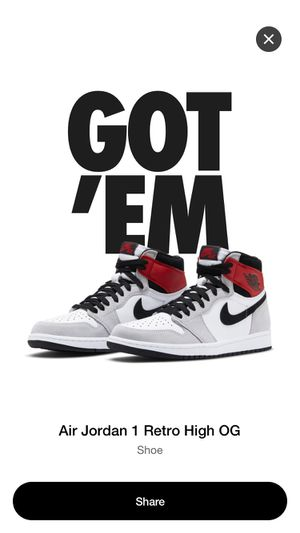 10.5 Air Jordan retro 1 snkr app Grey smoke brand new 100% auth receipt for Sale in Lawrenceville, GA