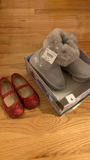 Frozen toddler size 6 new boots and red glitter size 6 ballet flats for Sale in Massapequa, NY