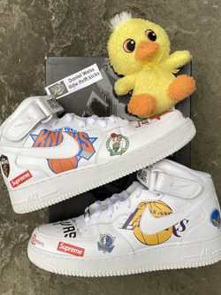 Nike Air Force 1 Mid Supreme White NBA Logos - Mens Size 9.5 for Sale in Washington,  DC