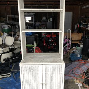 White Wicker Cabinet Shelf for Sale in Aurora, IL