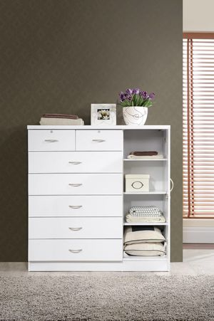Hodedah 7-Drawer Dresser with Side Cabinet equipped with 3-Shelves, White for Sale in Bellaire, TX