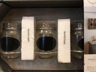 Threshold Wall Decor Plaque With 3 Mason Jars for Sale in Boston,  MA
