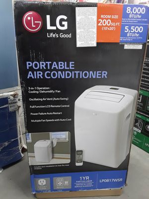 LG Electronics8,000 BTU (5,500 BTU,DOE) Portable Air Conditioner, 115-Volt w/ Dehumidifier Function and LCD Remote in White for Sale in Houston, TX